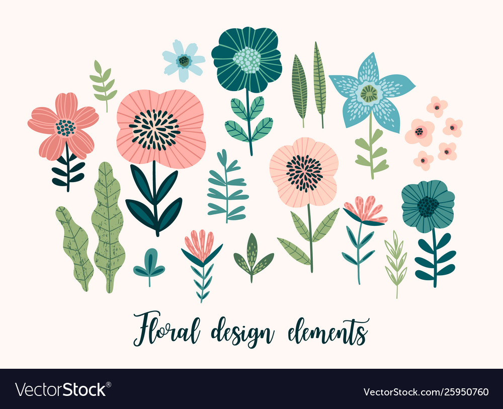 Floral design elements leaves flowers
