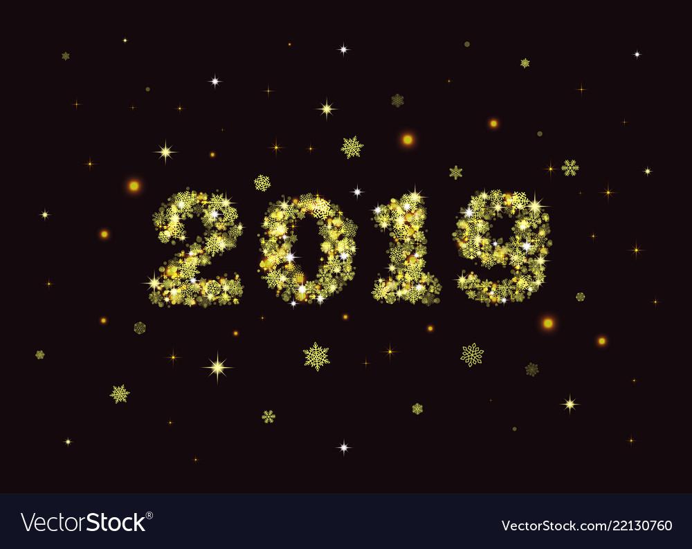 Golden 2019 snowflakes card on black