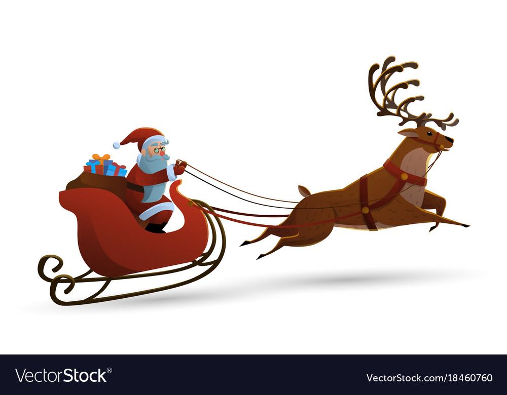 Happy santa claus riding a vector image