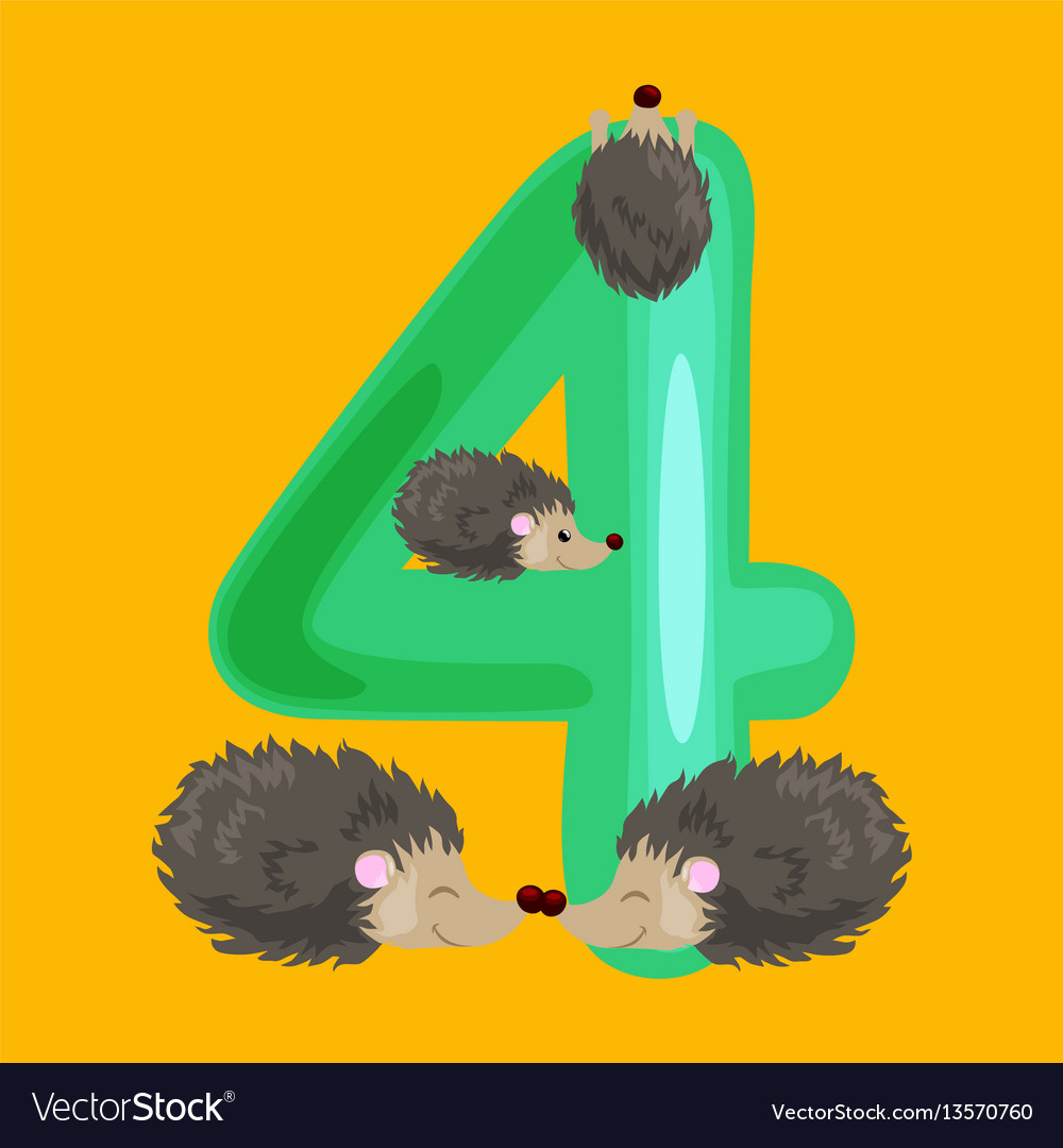 Ordinal number 4 for teaching children counting
