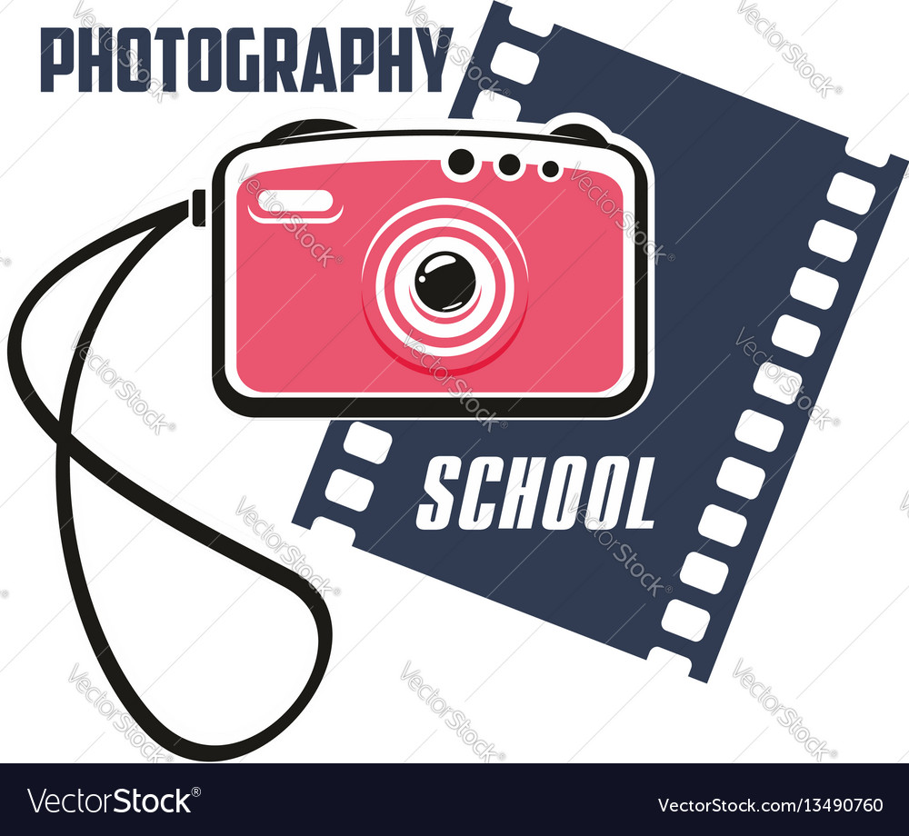 Photography school sign with photo camera vector image