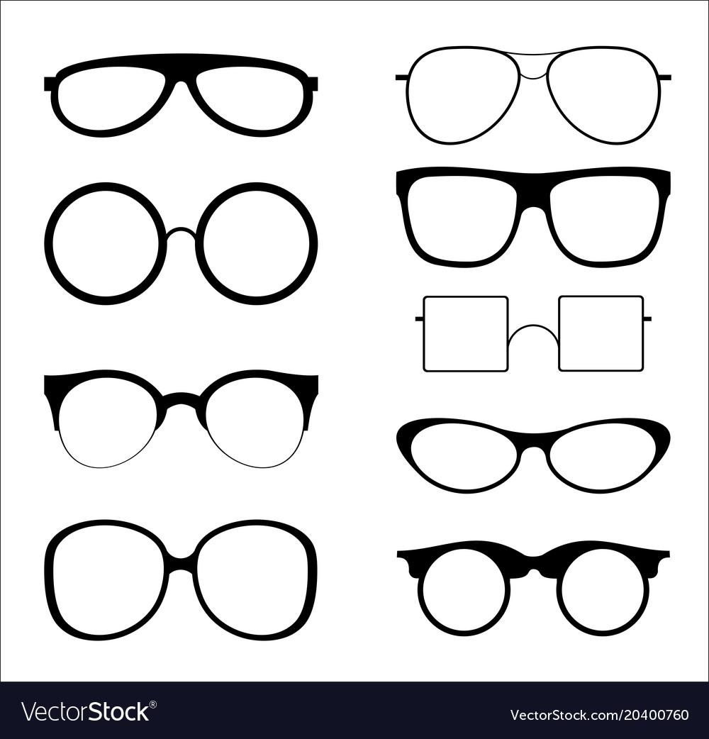 Set of silhouettes sunglasses