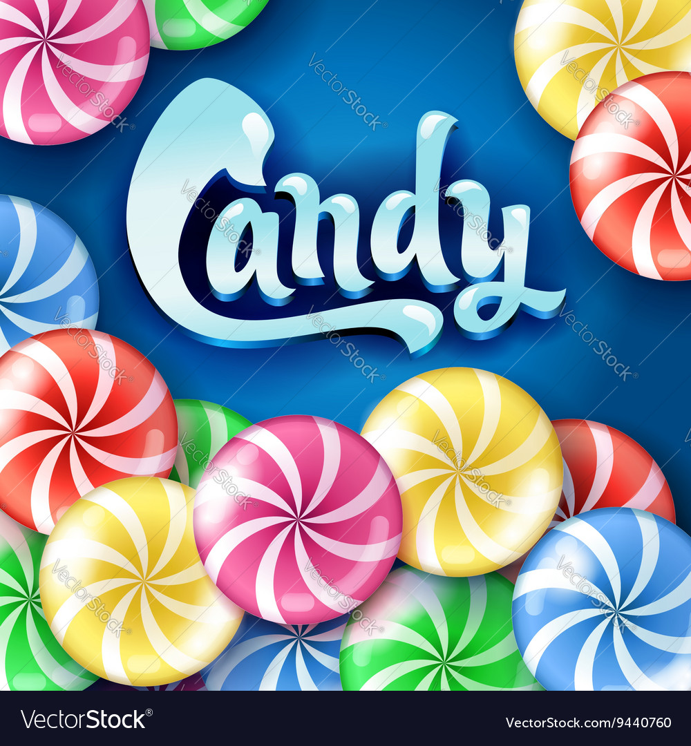 Sweet lollipop candy colorful background vector image
