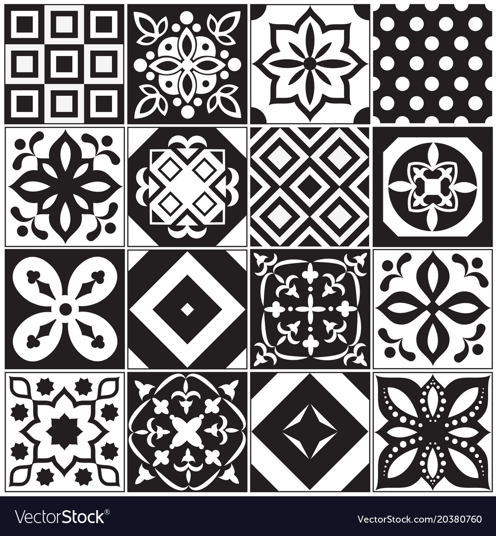 Vintage black and white traditional ceramic floor vector image