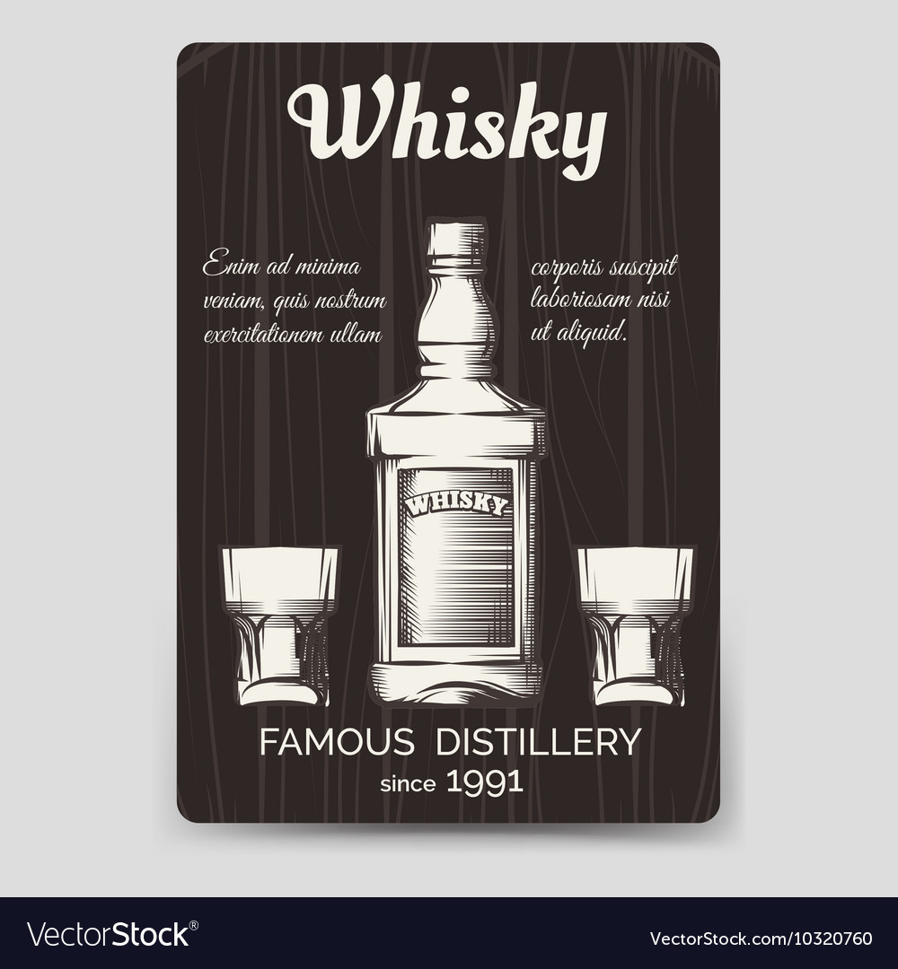 Whisky Brochure Flyer Template Royalty Free Vector Image