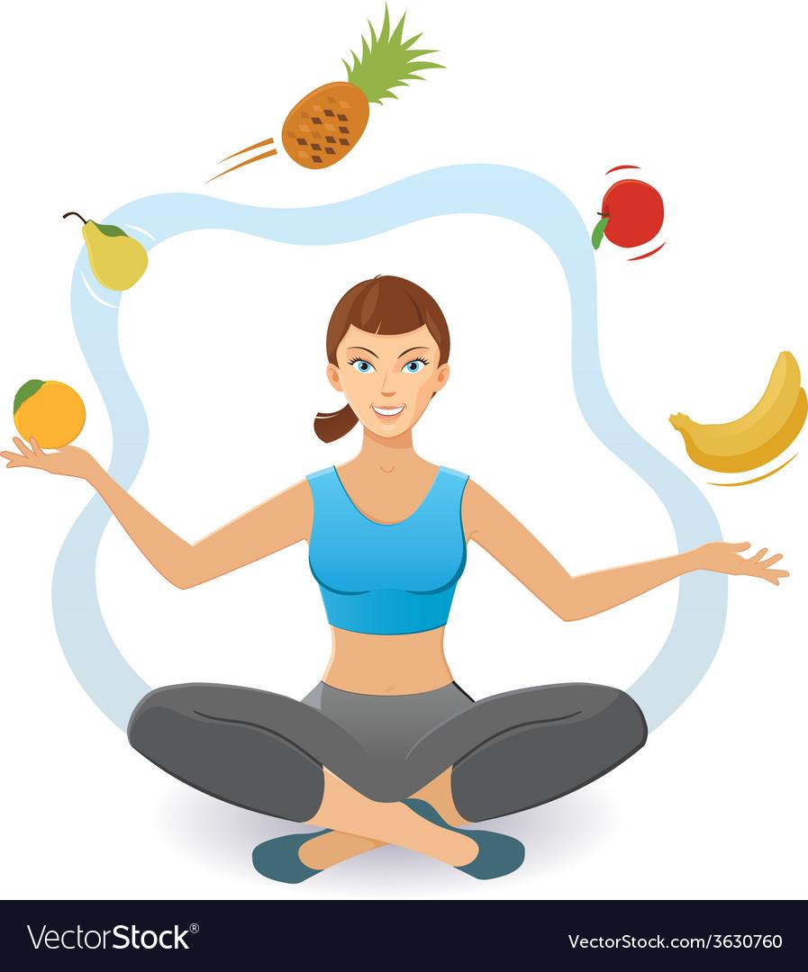 Woman juggling various fruit vector image