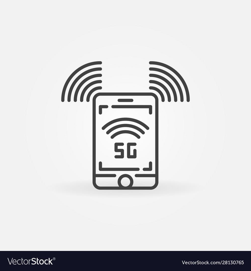 5g smartphone concept icon in thin line