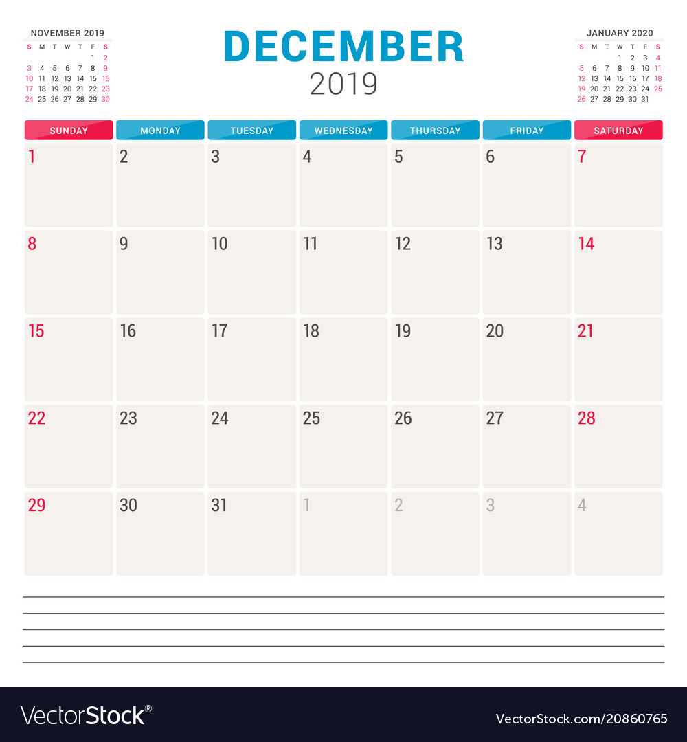 Weekly Calendar For December 2019 Calendar planner for december 2019 week starts on Vector Image