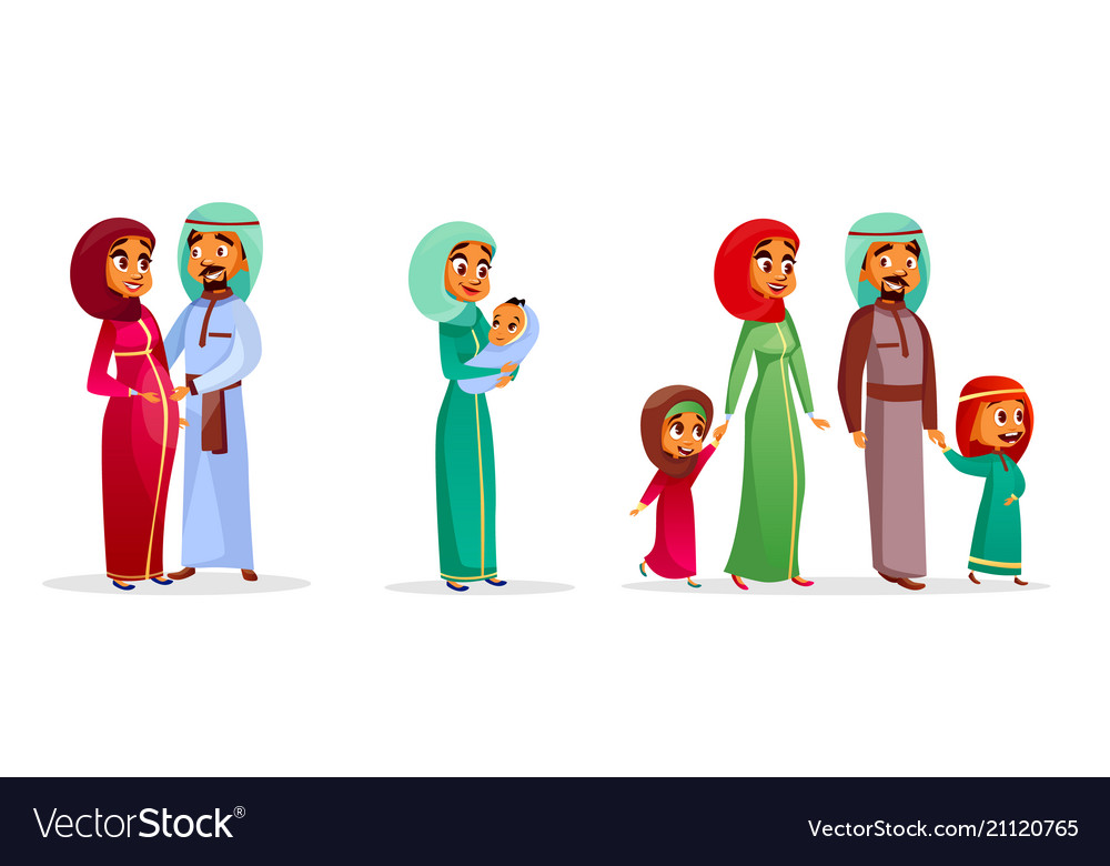 Cartoon arab family characters set