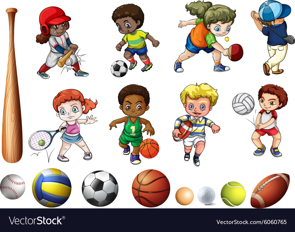Children playing ball related sports