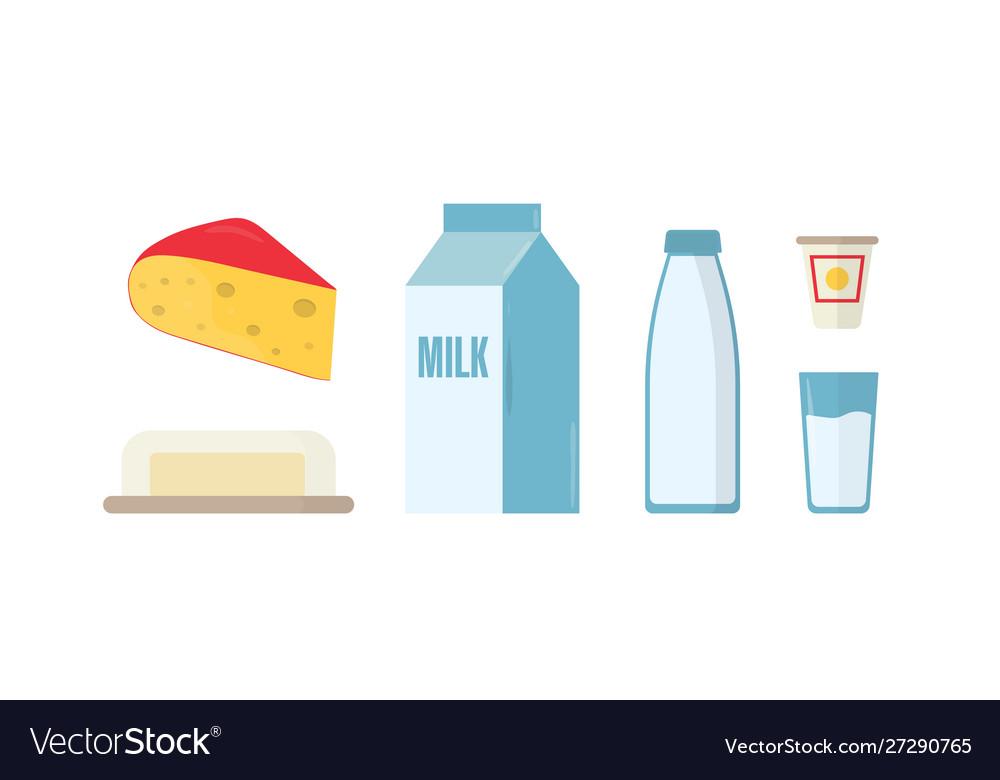 Dairy products flat set milk