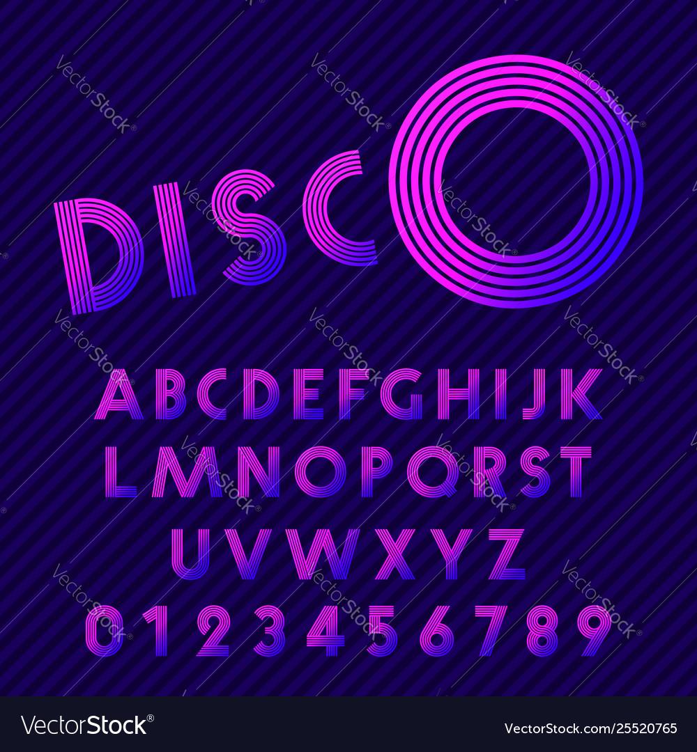 Disco style alphabet retro nightclub font set of