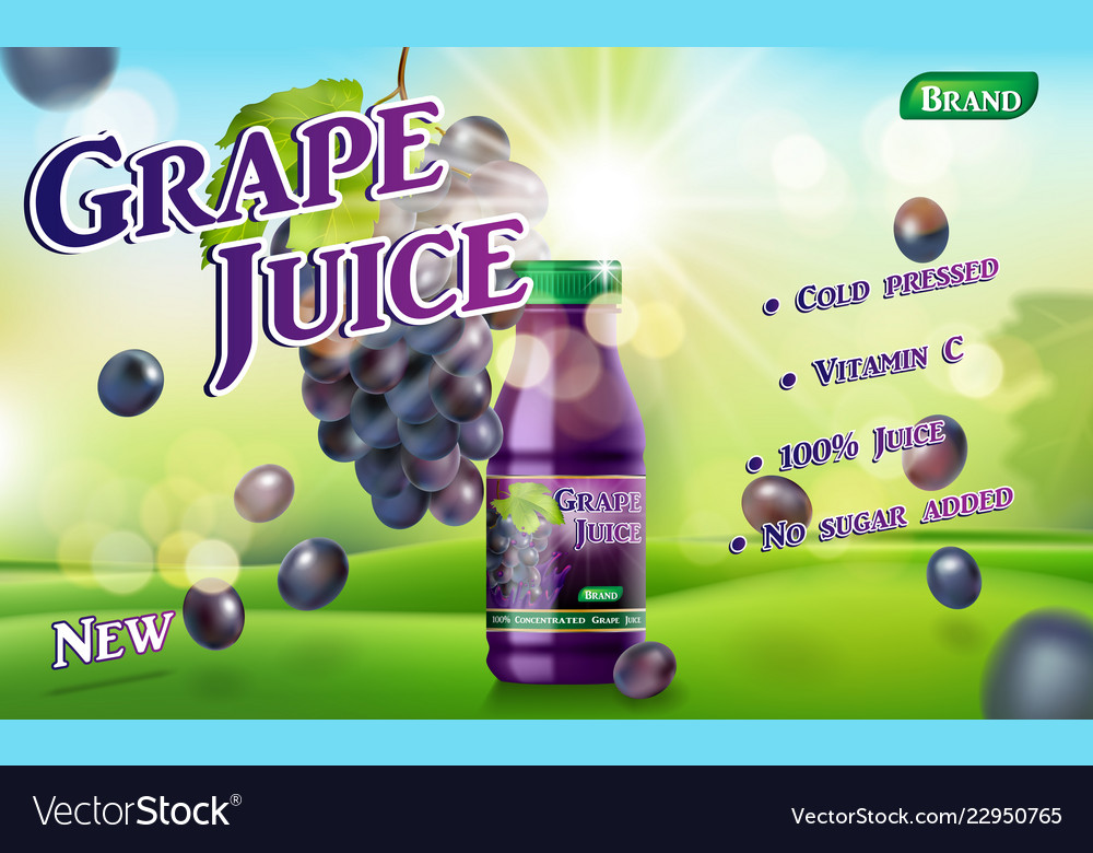 Grape juice bottle with sunny background on green