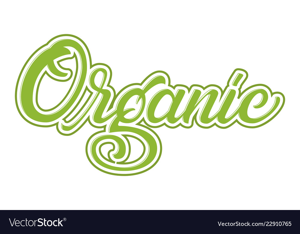 Hand drawn lettering organic with outline and