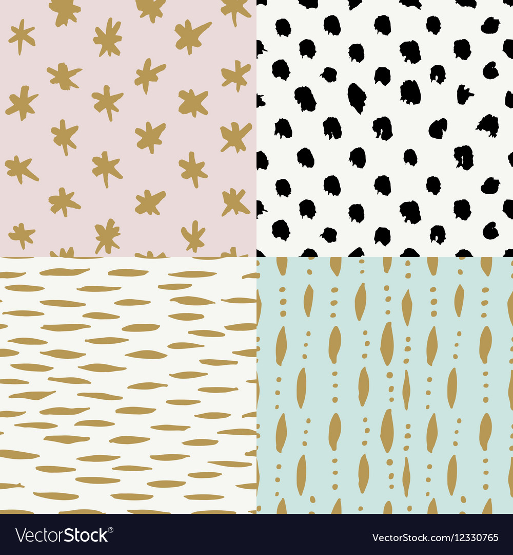 Hand drawn seamless patterns collection