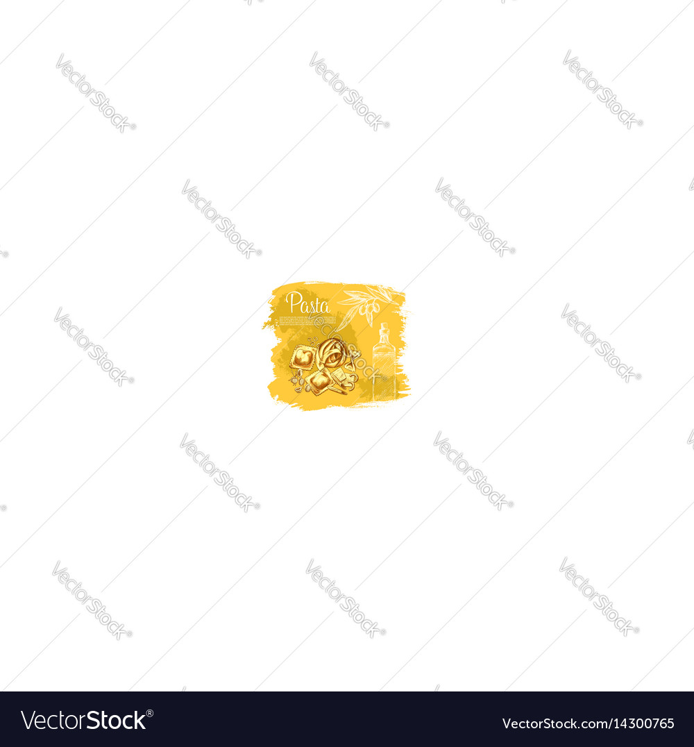 Poster italian cuisine pasta and olive oil vector image