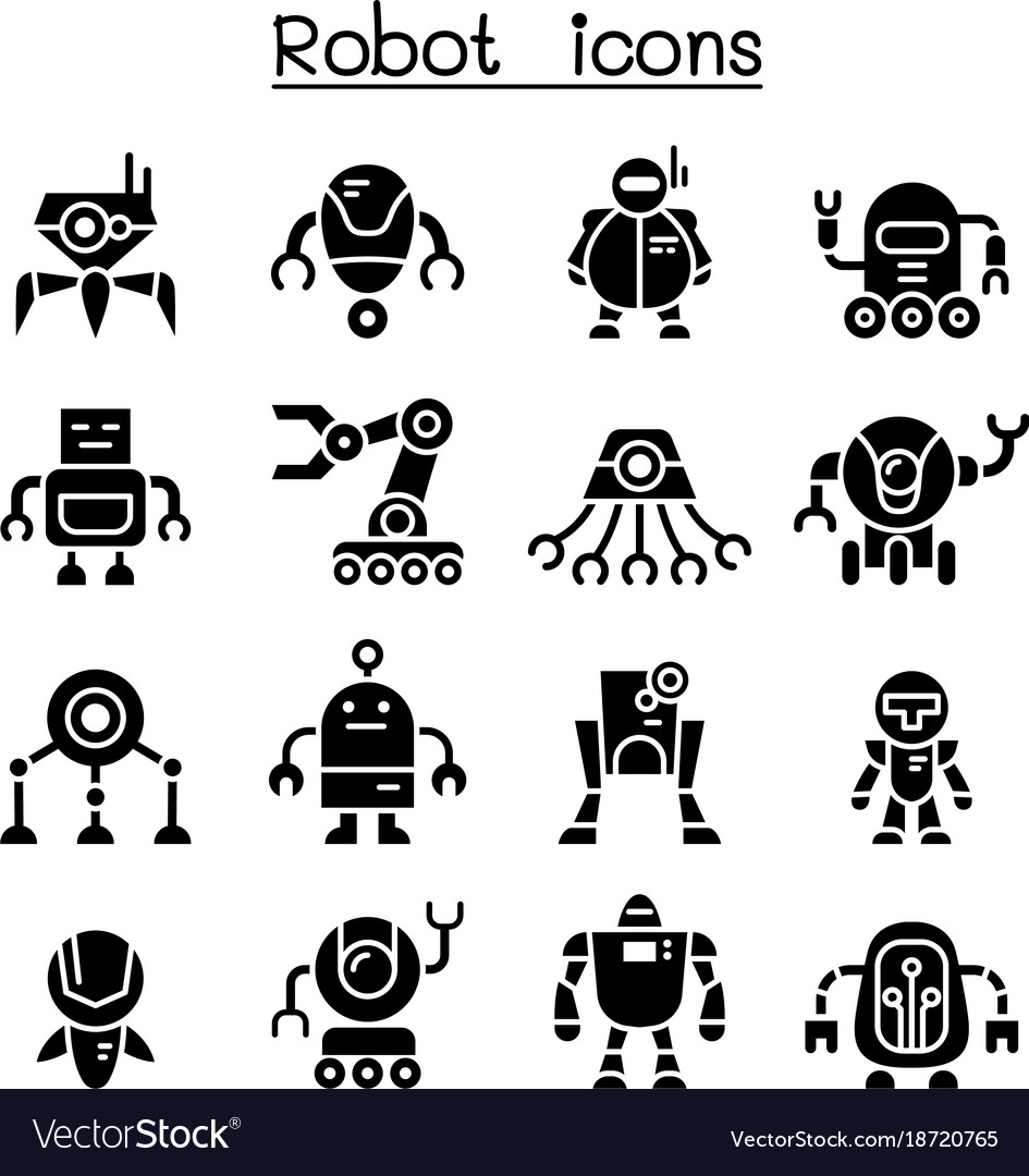 Robot Icon Set Royalty Free Vector Image Vectorstock Download for free in png, svg, pdf formats 👆. vectorstock
