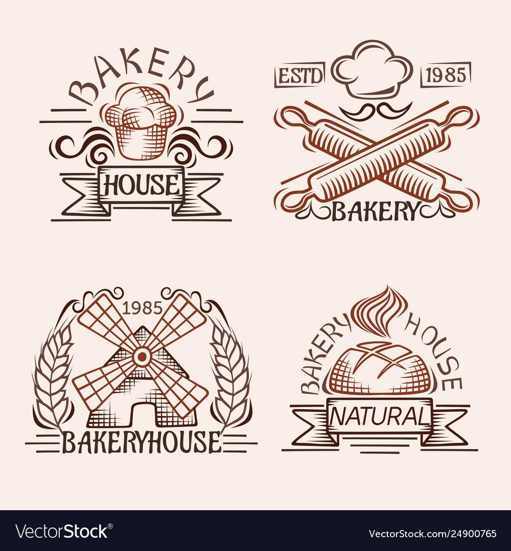Set vintage bakery labels design elements