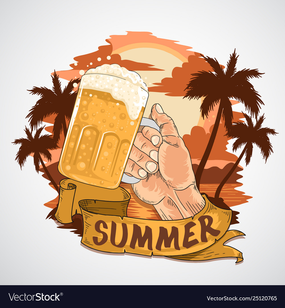 Summer beer party element with beach view a
