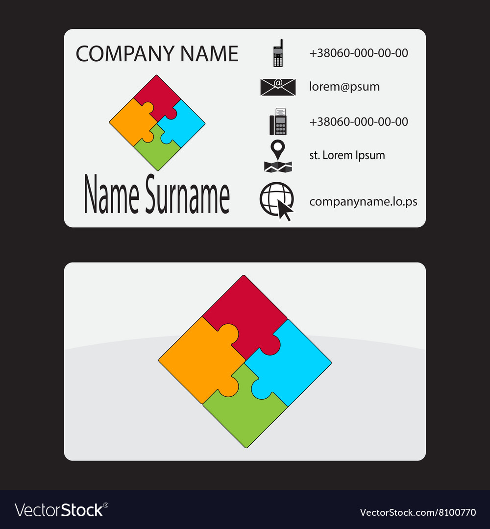 Business card with a puzzle logo royalty free vector image business card with a puzzle logo vector image colourmoves