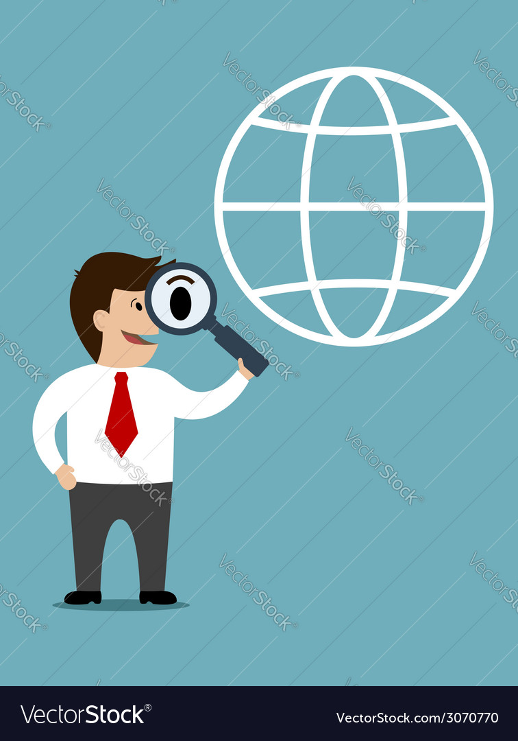 Businessman conducting a global search