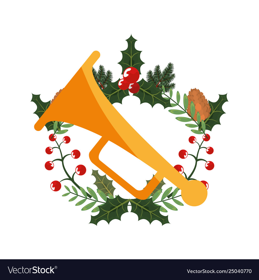 Christmas Trumpet Images.Christmas Trumpet Holly Berry Leaves