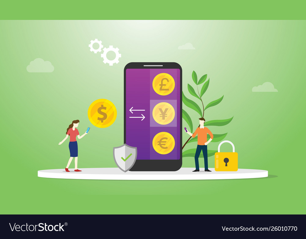 Currency exchange money concept with mobile