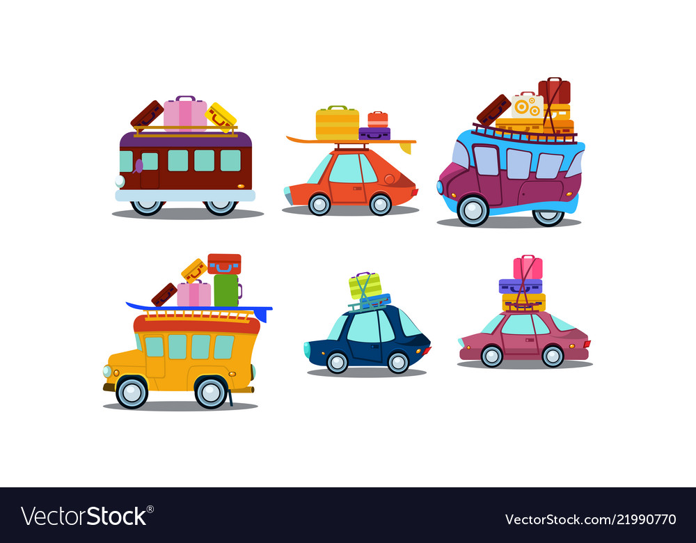 Flat set of colorful cars buses and vans