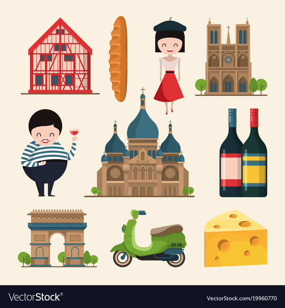 French Landmarks In Cartoon Royalty Free Vector Image