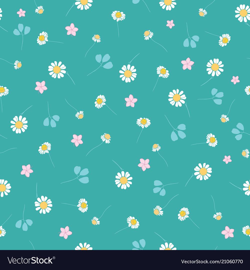 Green daisies ditsy seamless pattern