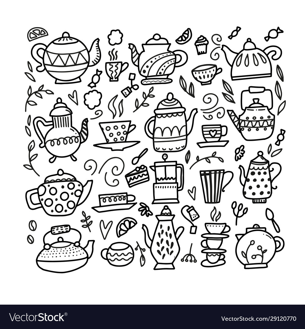 Hand drawn teapot and cup collection doodle tea