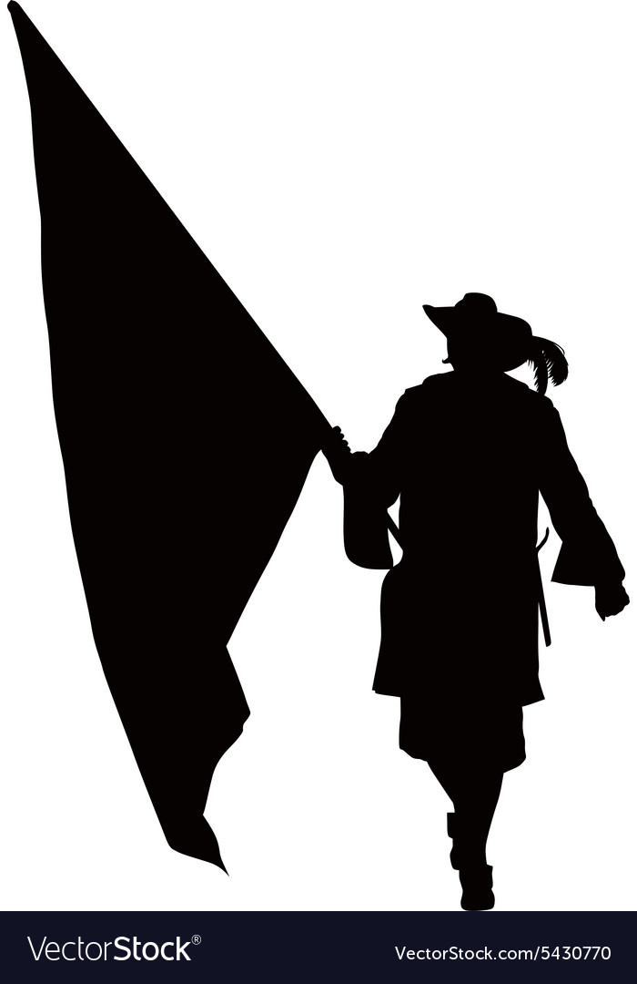Musketeer with flag Warriors Theme vector image