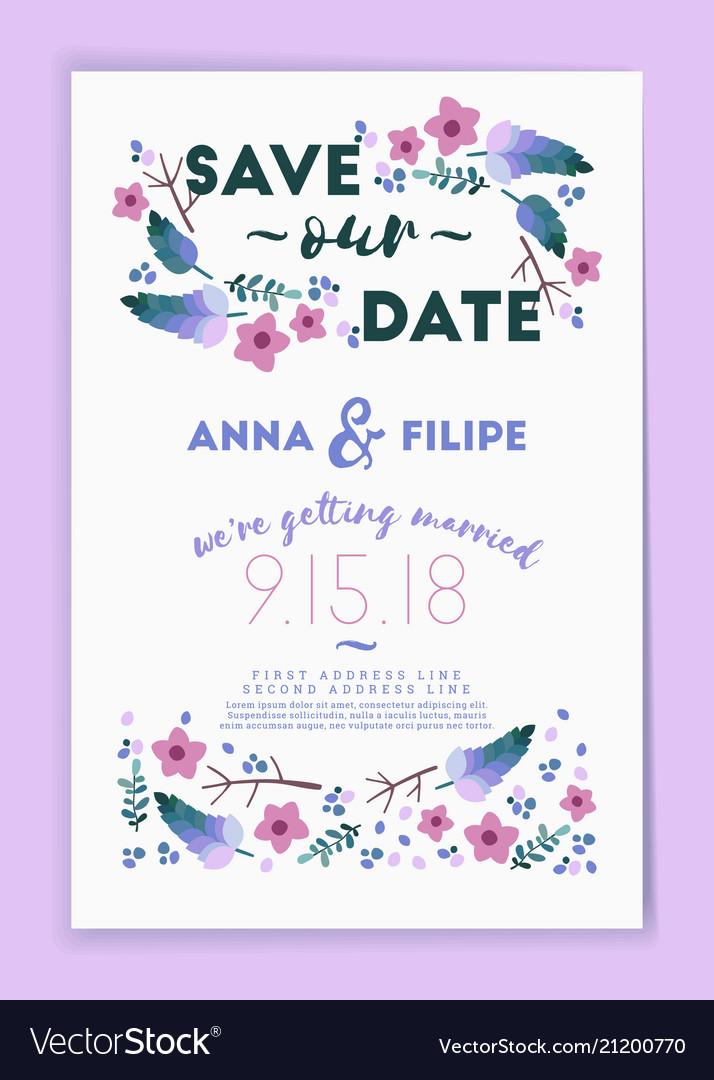 Save the date wedding invitation card design