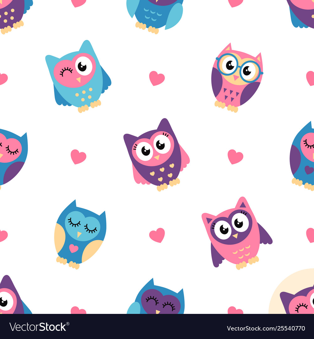 Seamless pattern with colorful owls and hearts