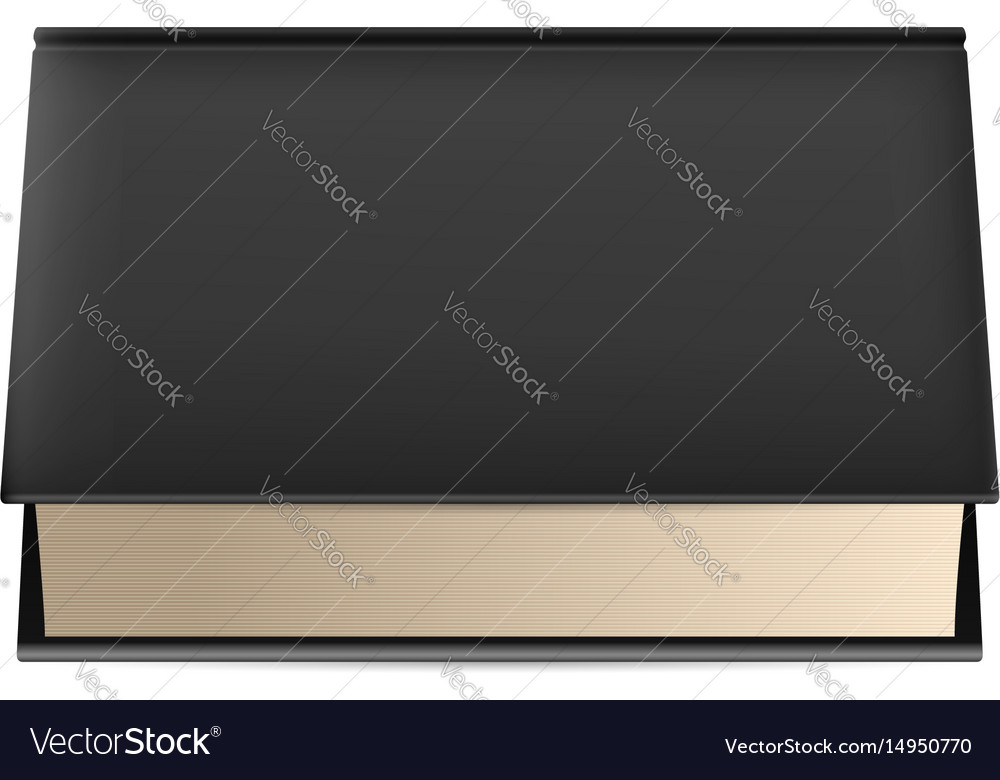 Thick book in black cover isolated on white vector image
