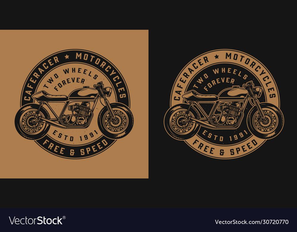 Vintage Motorcycle Round Emblem Royalty