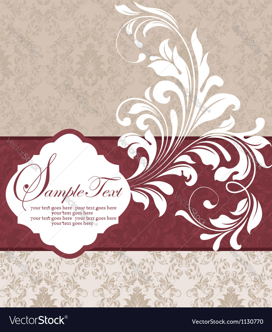 Wedding damask floral card