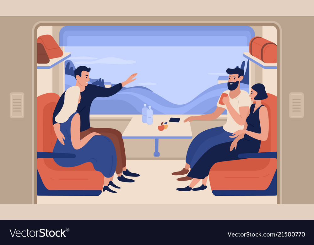 Young smiling men and women travelling by train