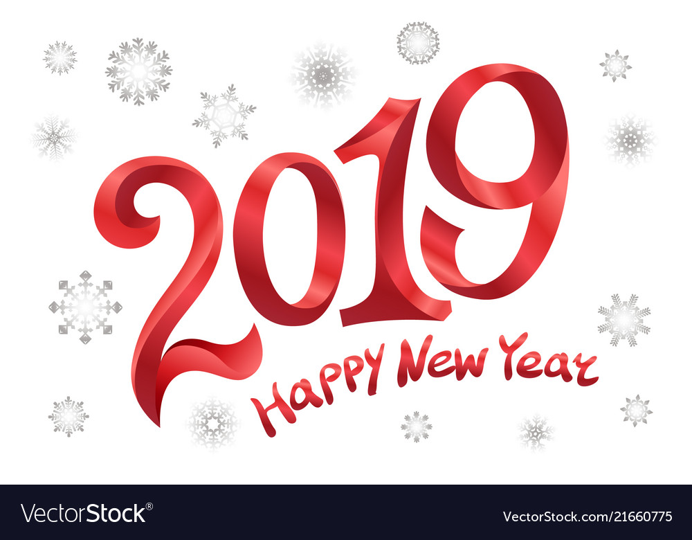 2019 happy new year tape red number on white