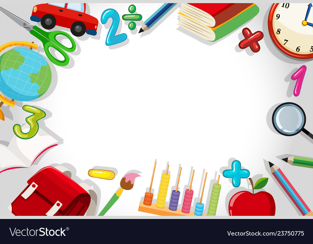 A school stationery border Royalty Free Vector Image