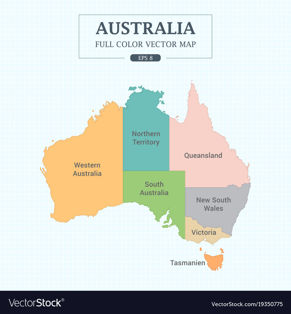 Full Map Of Australia.Australia Map Full Color High Detail Separated All