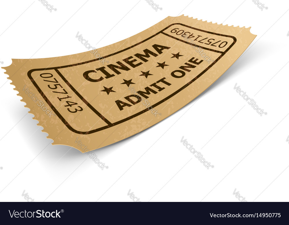 Cinema ticket in retro style design isolated on vector image