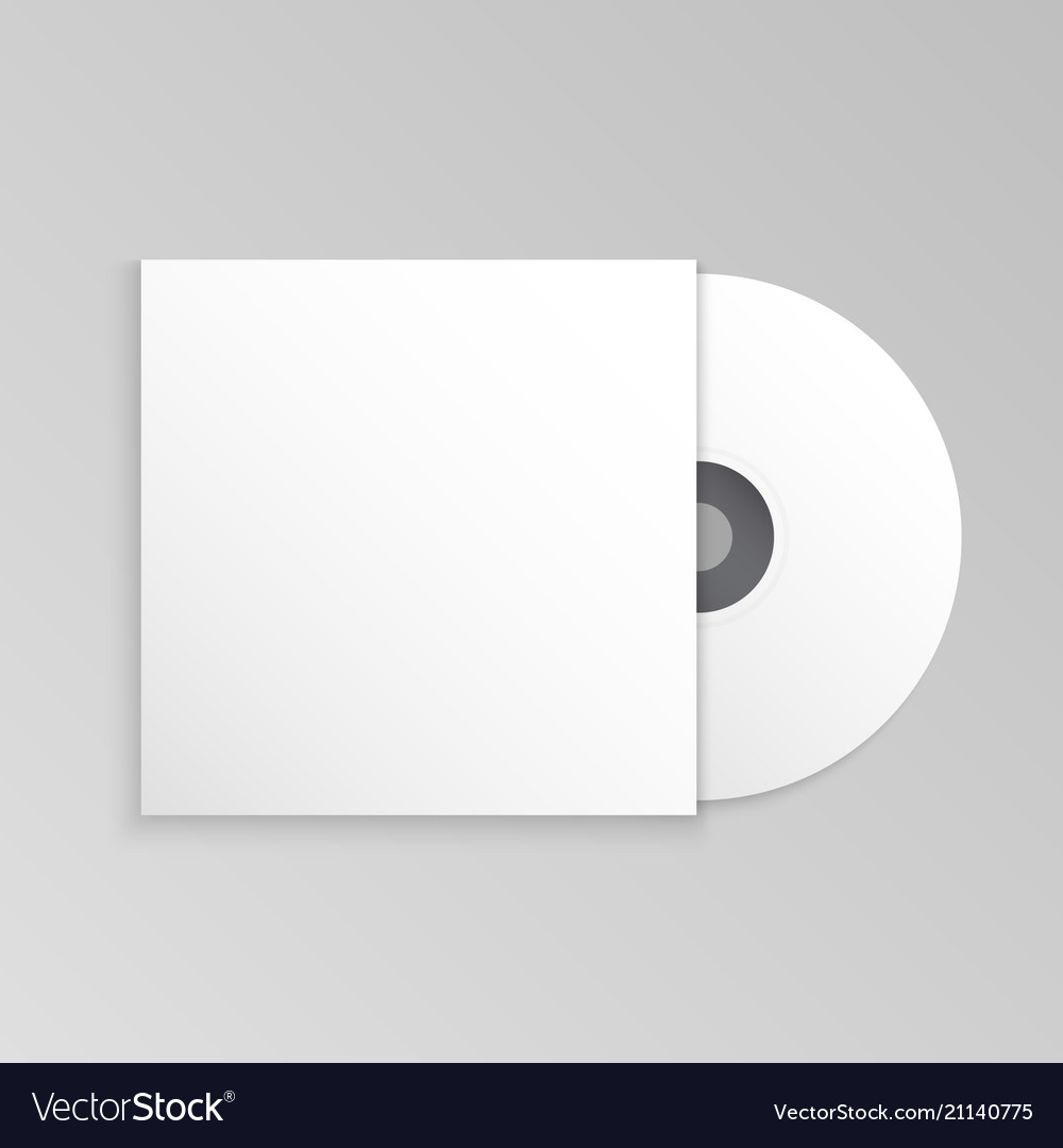 Compact Disk And Cover Mockup Template Vector Image
