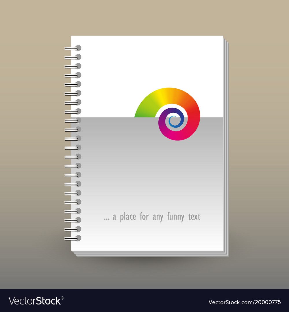 Cover of diary or notebook with rainbow snail vector image