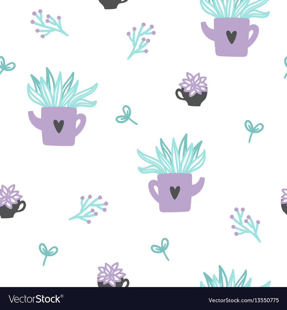 Cute plants seamless pattern