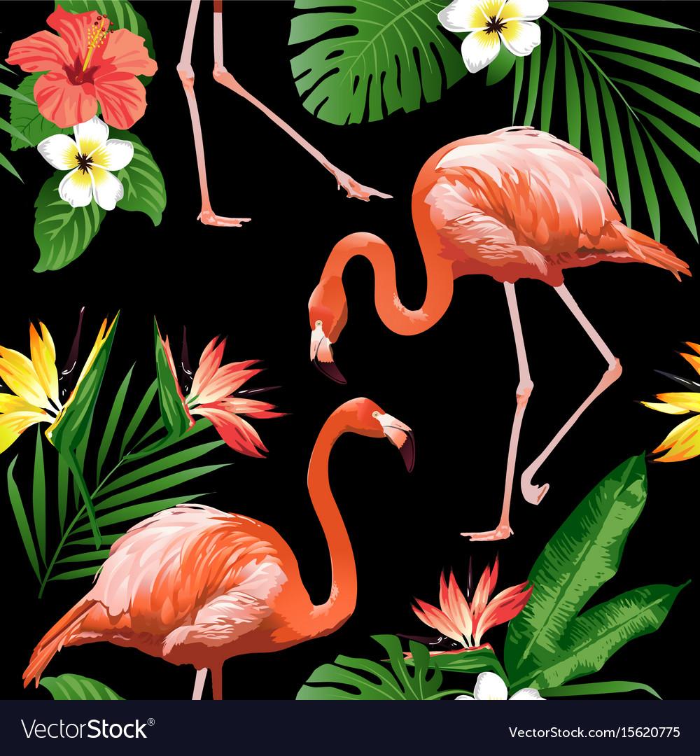 Flamingo bird and tropical flowers background seam