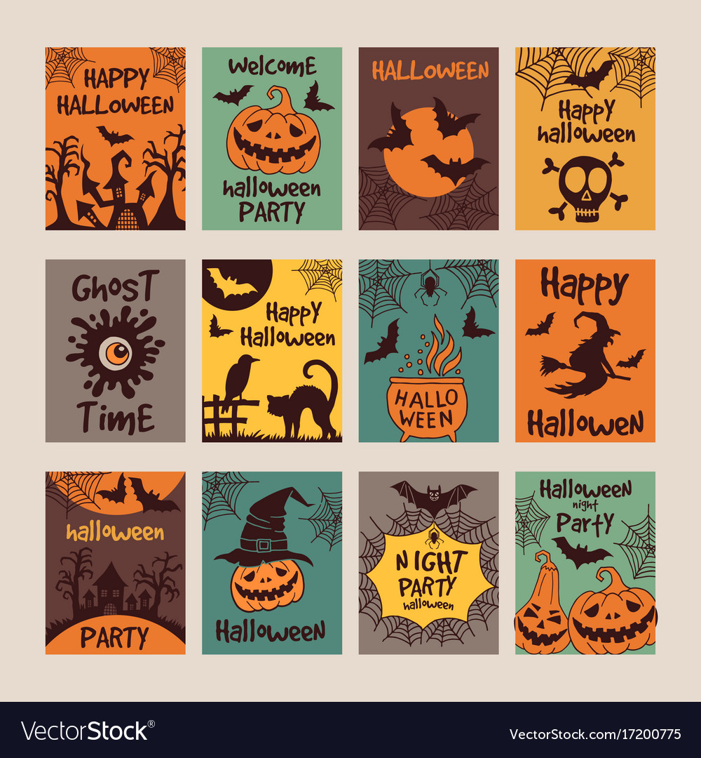 Halloween Party Invitation Cards With Different
