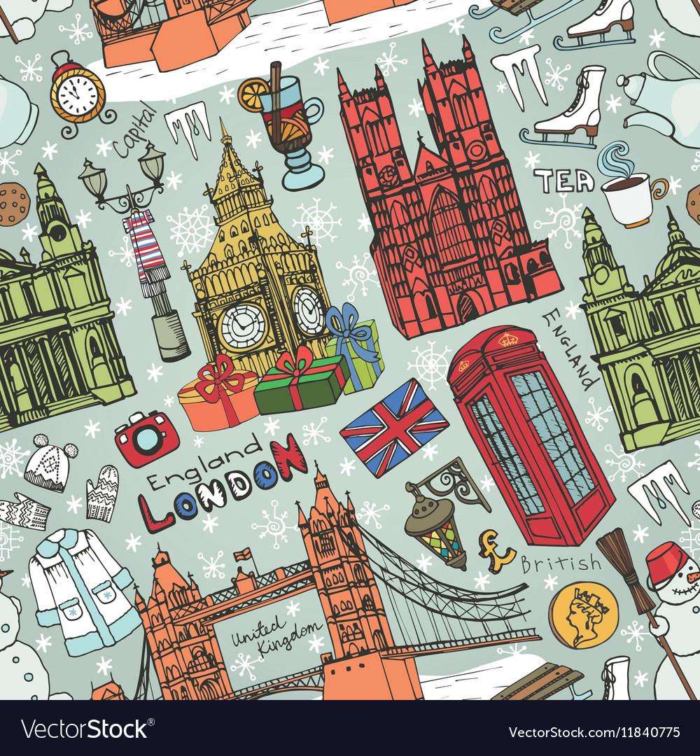 London winter landmarks seamless patternColored