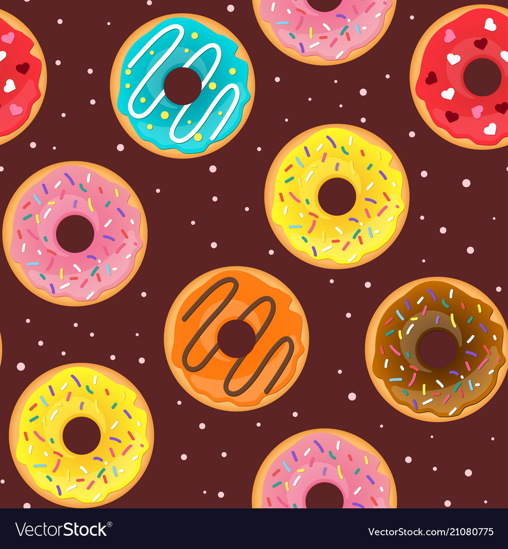 Seamless pattern with tasty doughnuts