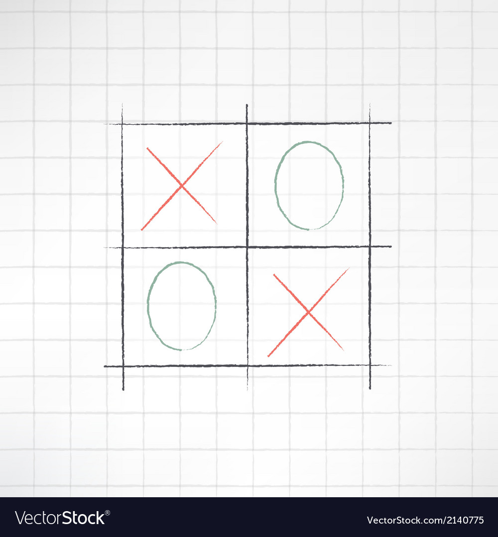 Sketch tic-tac-toe icon made in modern flat design